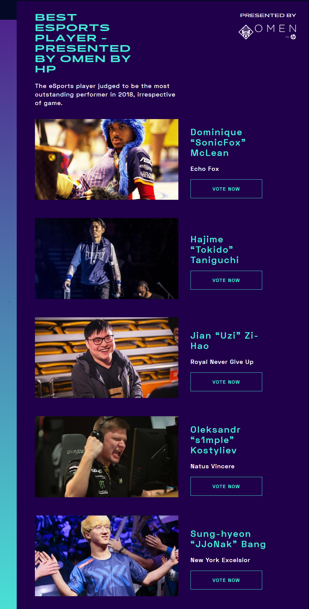 RNG Uzi Nominated for the Best Esports Player at The Game Awards 2018